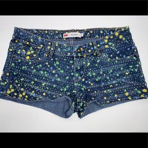 Levi's Shorty Shorts Blue Splattered Jean Shorts